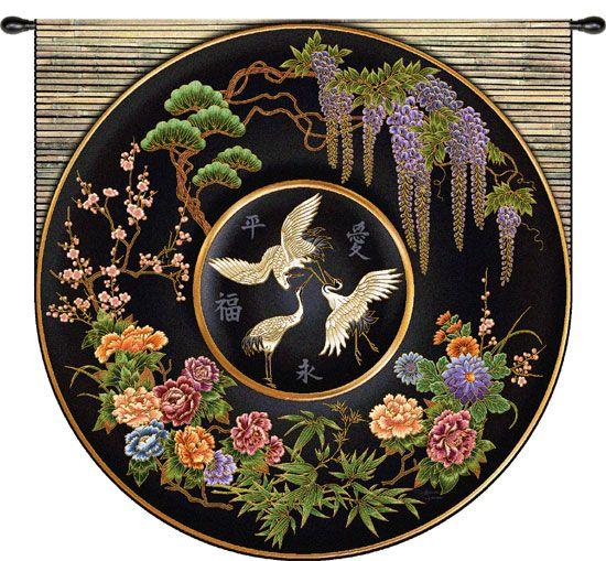 """Cloisonné Jet""                                                         Asian Tapestry Wall Hanging                                    Cloisonné Plate"