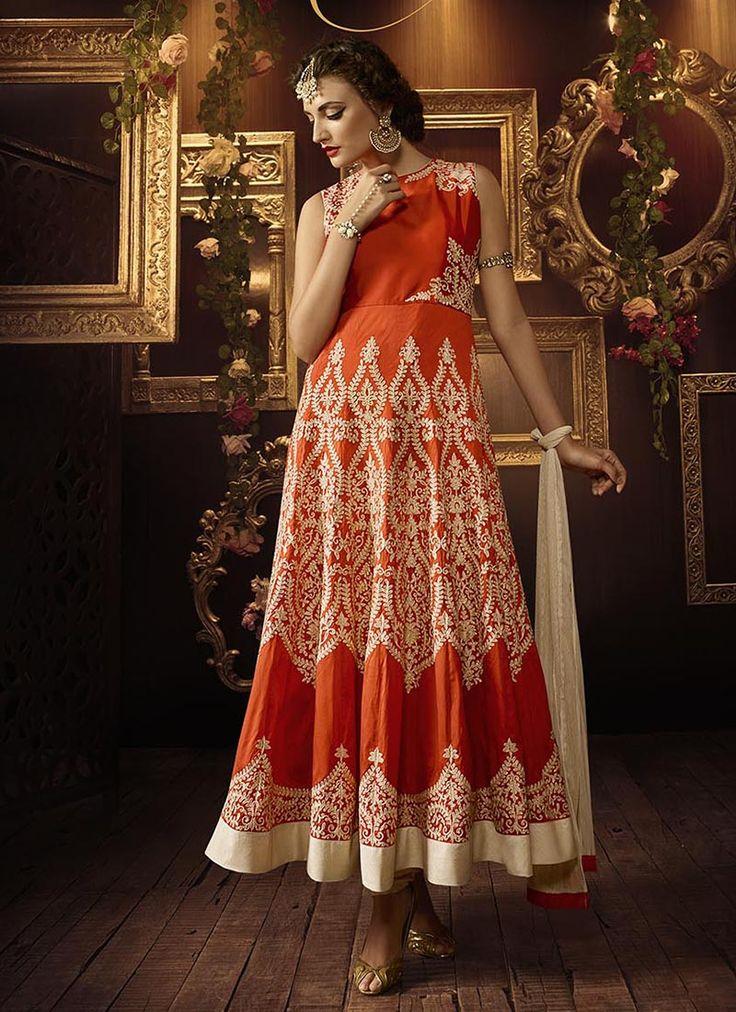 Orange Wedding Special Anarkali Suits Collection   Wholesale Anarkali Suits   Bulk Anarkali Suit