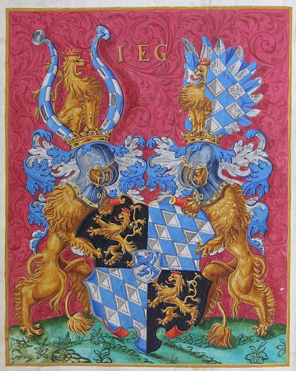 Der jüngste Sohn von Pfalzgraf Wolfgang von Zweibrücken, Karl, wurde am 19. Dezember 1579 im Alter von 19 Jahren zum Ehrenrektor der Universität Heidelberg gewählt – die eigentlichen Amtsgeschäfte führte der Prorektor Edo Hilderich. Die Buchmalerei zeigt das Vollwappen Karls mit dem quadrierten Schild (1/4. Löwe, 2/3. Rauten) mit Herzschild (Veldenzer Löwe) und als Schildhalter zwei Löwen mit dem Oberwappen. [UAH, M 4, fol°0v]