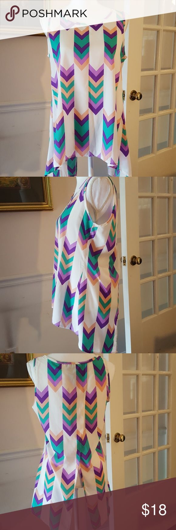 Peach Love California Chevron High Low Blouse Med Cute Purple, green and peach chevron design sleeveless high low top with asymmetrical hem. Size Medium. Open flap back. Excellent Used Condition. Peach Love California Tops