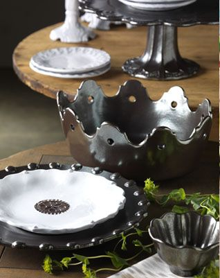 the pewter colored accent medallions are just beautiful in this incanto line extension vietri incanto metallic dinnerware and accents - Vietri Dishes