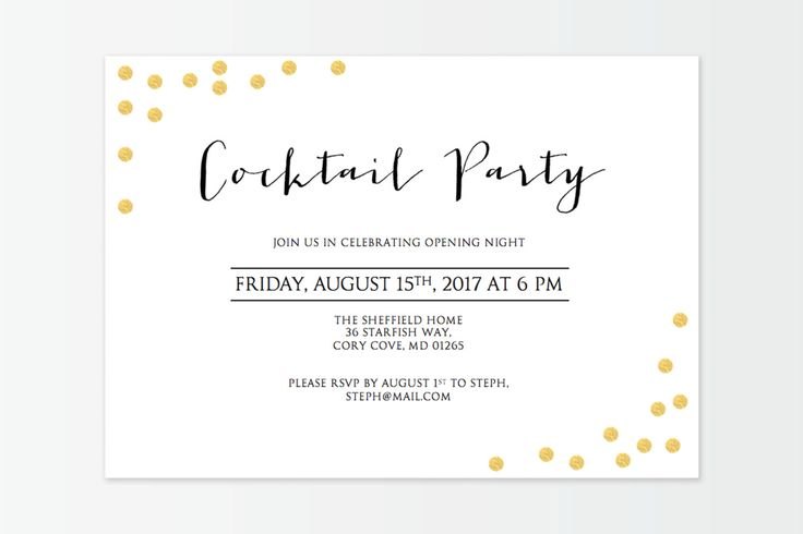 Gold Confetti Corners Cocktail Party Invitation - Instant Digital Download - DIY template- Microsoft Word - Gold confetti - 5x7 inches by GraceDesignsDIY on Etsy https://www.etsy.com/au/listing/465875335/gold-confetti-corners-cocktail-party