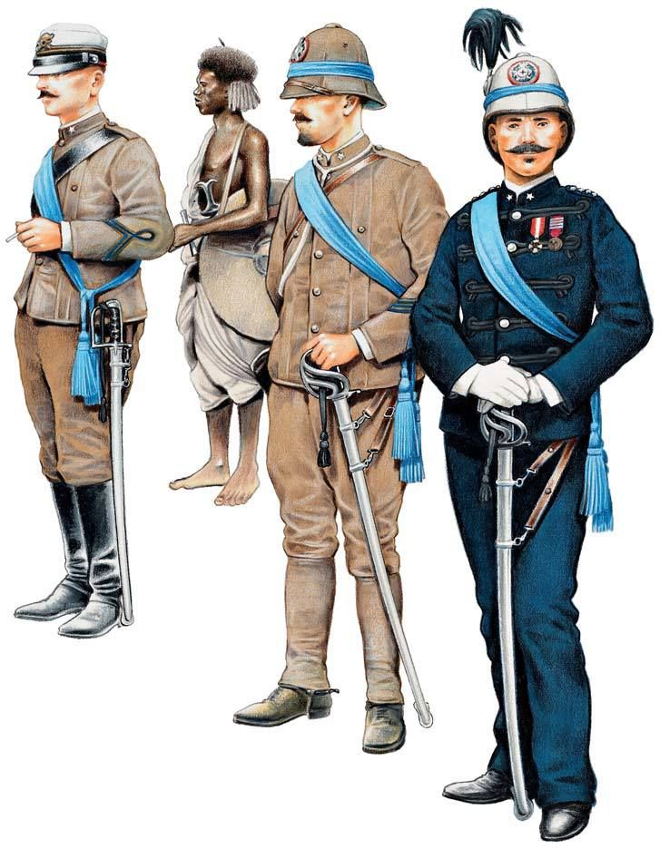 ITALIAN OFFICERS 1895-96 1:Artillery lieutenant,marching order.2:Beni Amer guide.3:Captain,Fanteria d'Africa,marching order.4:Captain,Cacciatori d'Africa,full dress.