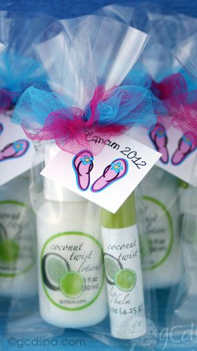 Tropical party favors with flip flops for beach party. Coconut Twist lip balm and lotion to pamper your guests at a bachelorette weekend or beachy bridal shower! #tropicalfavors