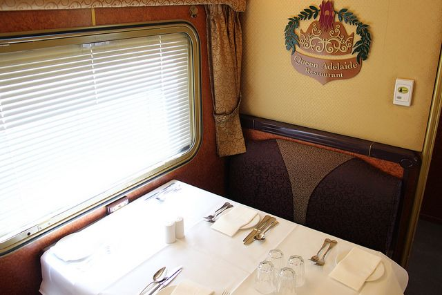The Ghan Train Australia - Queen Adelaide Dining Car | http://www.tipsfortravellers.com/ghan-train-australia-video-tour-iconic-railway-journey/ #australia #theghan #trains