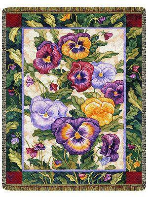 68x48 PANSY Pansies Floral Tapestry Afghan Throw Blanket