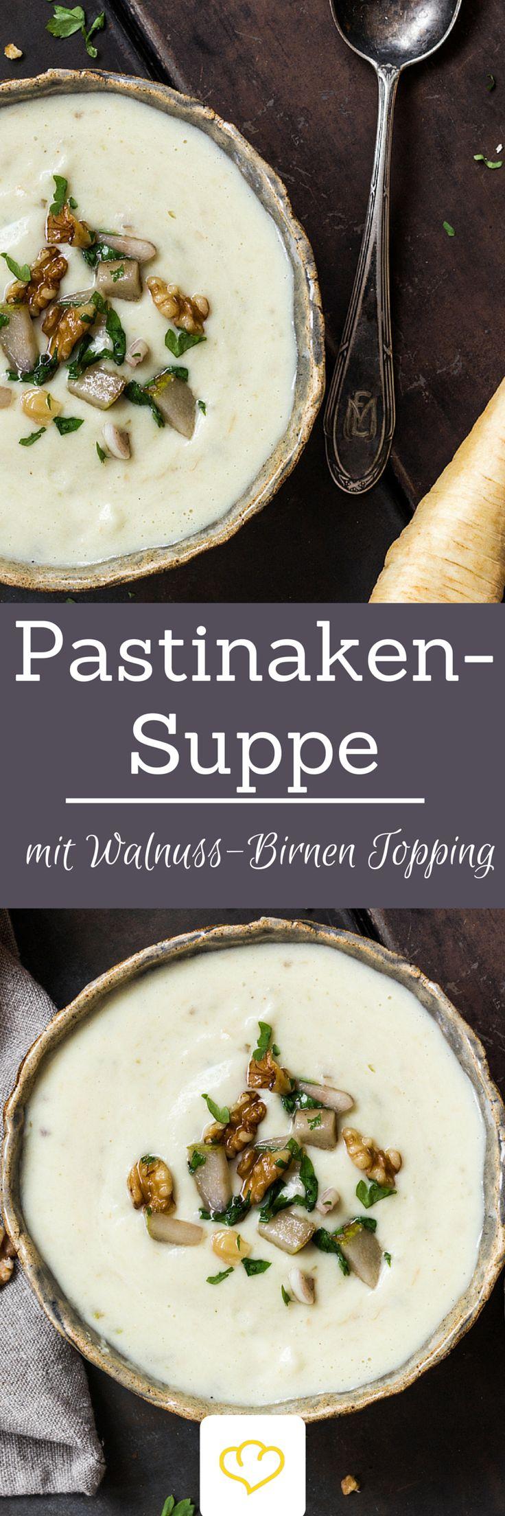 Pastinakensuppe mit Walnuss-Birnen-Topping