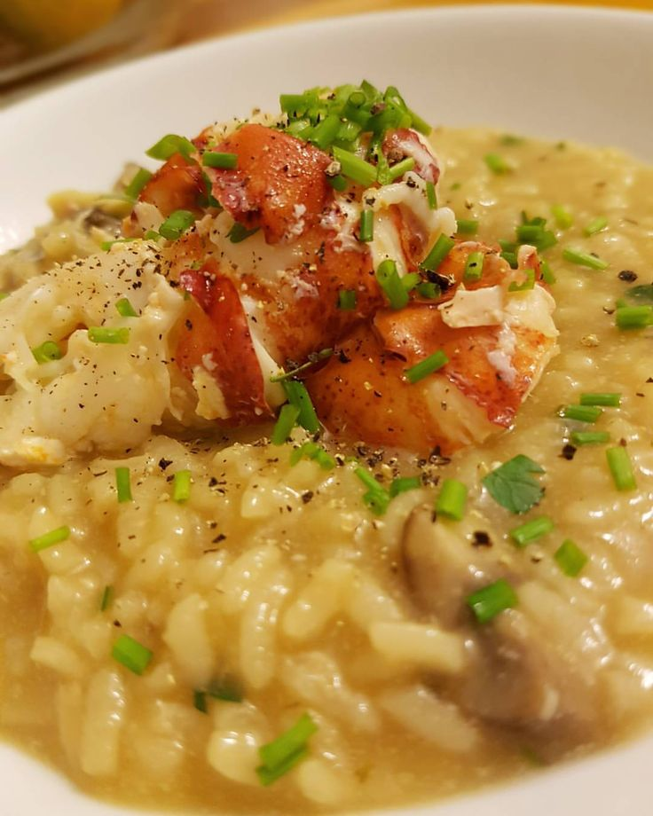 Instant Pot Lobster and Mushroom Risotto - fantastic and indulgent meal that you can enjoy without endless stirring.  Includes both the risotto recipe and a recipe for Instant Pot lobster stock.