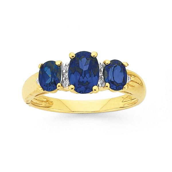 9ct Gold Created Sapphire & Diamond Trilogy Ring