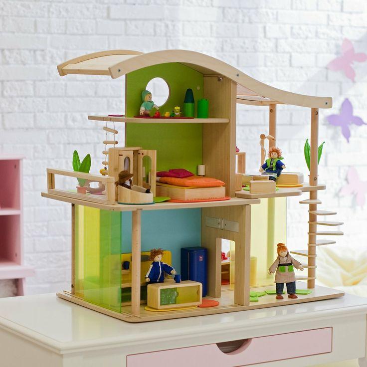 Casa delle bambole in legno di bambù