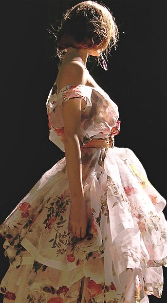 adore this dress ~ the pink, the layers, the off the shoulder, pink belt, floral, light fabric, ruffles - everything ~ Vivienne Westwood