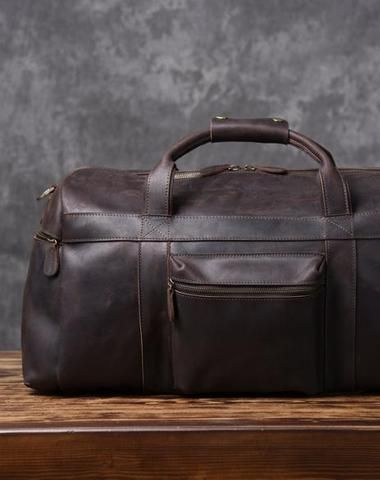 Cool Leather Mens Weekender Bag Travel Bag Duffle Bags Holdall Bag for men 27b29452f6580