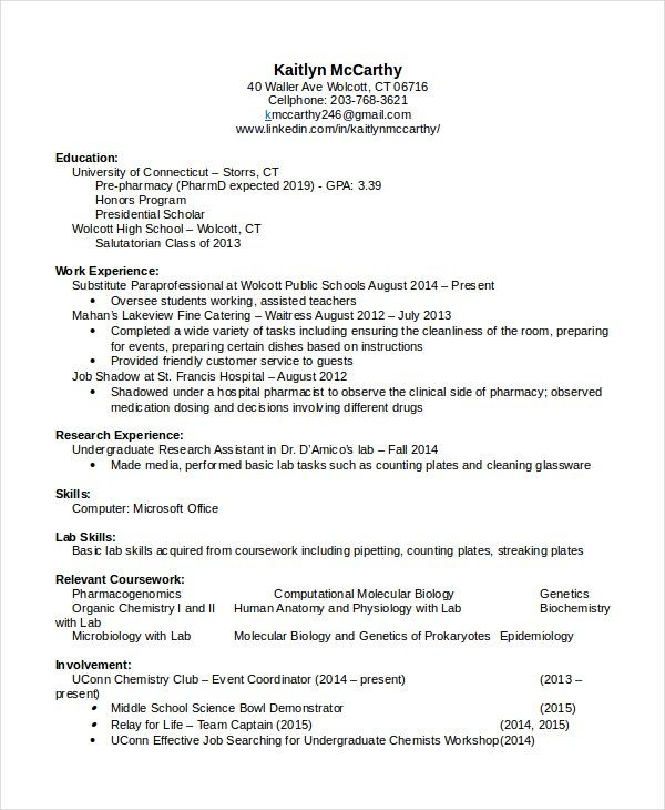 D Pharmacy Resume Format 2-Resume Format Sample resume, Resume
