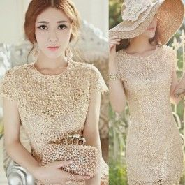 Top Quality Elegant Women\'s Floral Crochet Lace Pearl Beaded Bridesmaid Party Mini Dress Gown