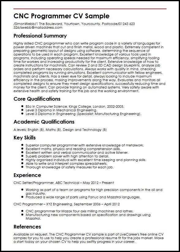 Cnc Programmer Cv Sample Myperfectcv In 2020 Job Resume Samples Sample Resume Cnc Programmer
