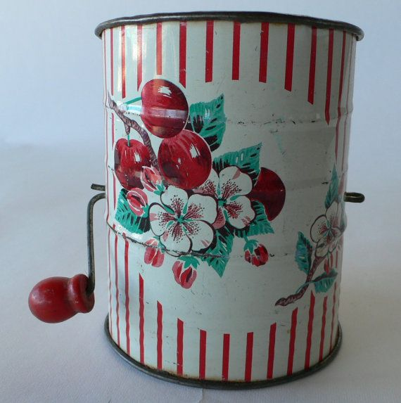 vintage flour sifter painted with cherries farmhouse kitchen from Diz Has Neat Stuff