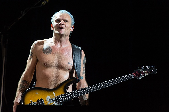 Flea of Red Hot Chili Peppers at Lollapalooza 2012 - Photo by Brendan Shanley of Lost In Concert