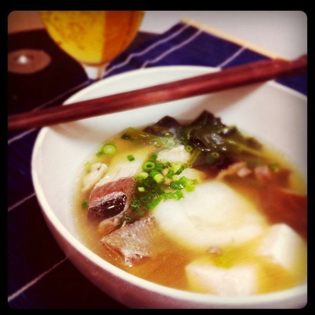 Rice-cake soup on new years day in Japan