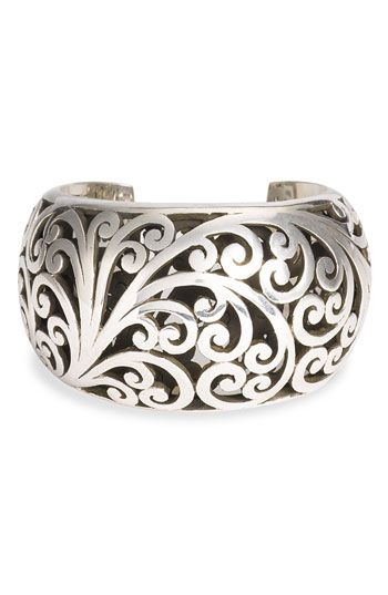 Lois Hill Hand Carved Sterling Scrollwork Cuff #jewellery