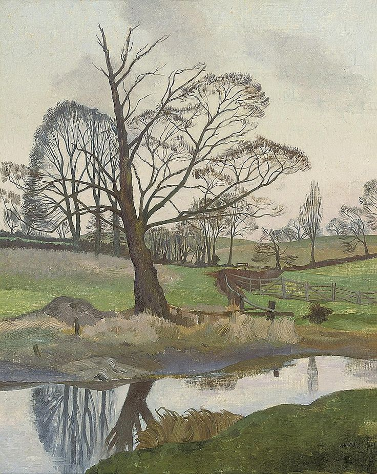 "John Northcote Nash, R.A. (1893-1977) ""River in Winter "" [via http://endlessquestion.tumblr.com/image/48388793737]"