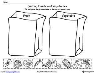 **FREE** Sorting Fruits and Vegetables in Grocery Bags Worksheet. Help your child identify the difference between fruits and vegetables by sorting the pictures into the correct grocery bag in this science printable worksheet.