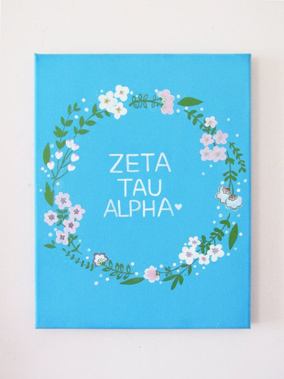 "HAND PAINTED 11""x14"" Sorority Name Monogram Floral Wreath Pretty Southern Chic Stretched Canvas Decor Greek Crafts PERSONALIZED"