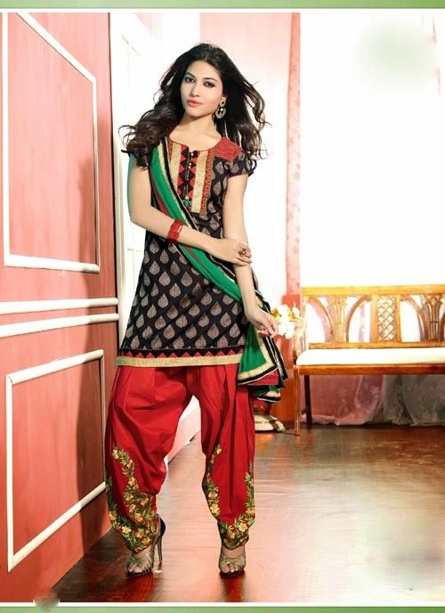 Pleasant Black & Maroon Chiffon Based Salwar #Suit With Resham Work #salwarkameez #ethnicwear #womenapparel #womendresses