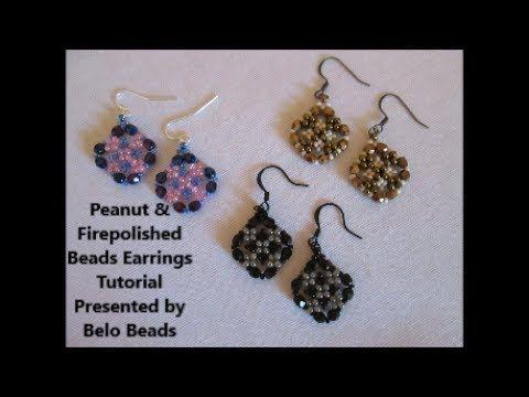 Peanut and Firepolished Beads Earrings Tutorial - Very Easy to make! - YouTube