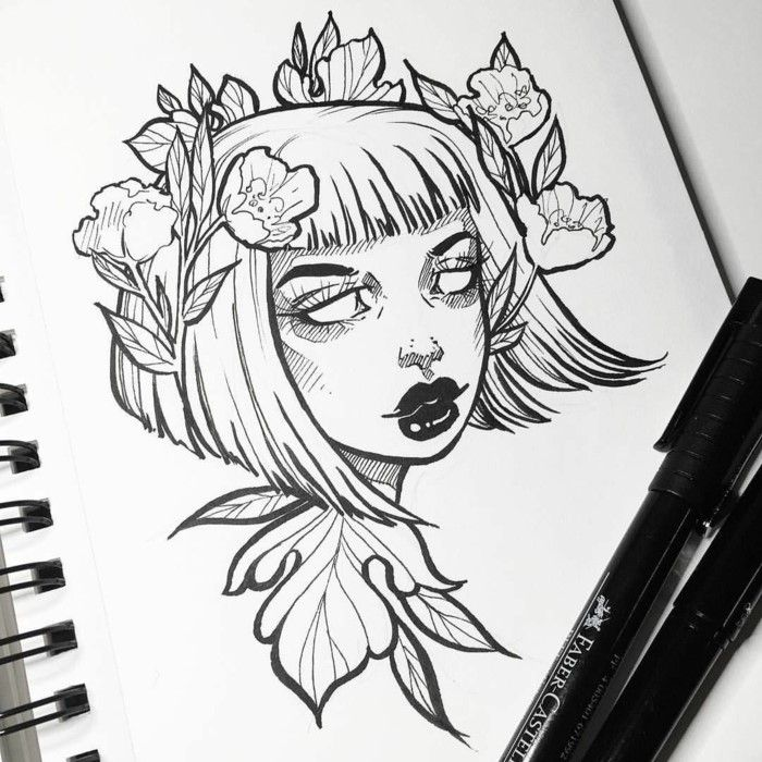 Beginner Drawing Ideas Black Marker Sketch On White Background Of Girl With Short Hair Flowers In Her Hair Drawings Pinterest Drawings Sketches