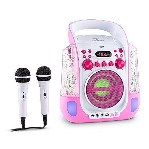 auna Kara Liquida Chaîne karaoke portable avec lecteur CD et MP3 (LED, 2 micros, port USB) – rose: Sortie vidéo pour la rediffusion du…
