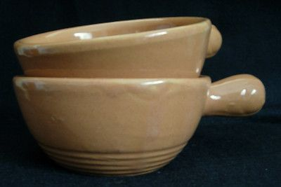 Vintage Pair of Spice Colored Handled USA Pottery Soup Bowls | eBay