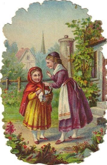 Victorian Die Cut Scrap Little Red Riding Hood & Wolf c1880s