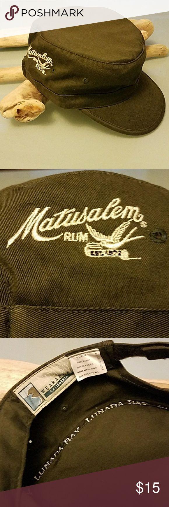 Military style hat Adjustable 100% cotton w/Matusalem Rum logo lunata bay Accessories Hats