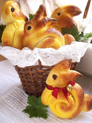 Bunny Bread. Website in another language so use Rhodes Rolls or your own recipe (or google translate!) but pictures show you how to shape them. Precious!