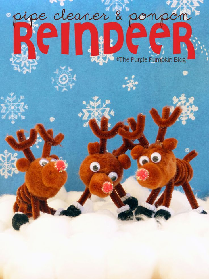 Cute Christmas decorations using pipe cleaners and pompoms in this reindeer craft. A great craft activity for children of all ages.