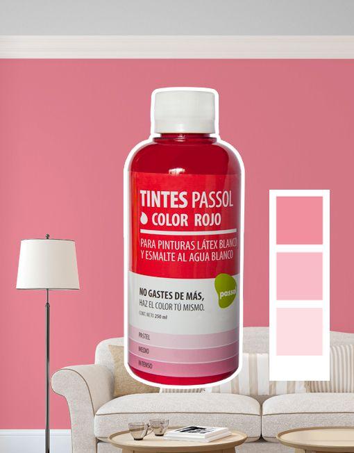 Tinte Passol Rojo para mezclar con pinturas LÁTEX y ESMALTE al agua de Passol.