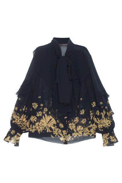 Шелковая блузка Chapurin - Романтичная черная блузка свободного кроя, украшенная лентами, которые можно завязать в бант в интернет-магазине модной дизайнерской и брендовой одежды