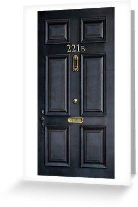221b baker street black wood door | Greeting Card