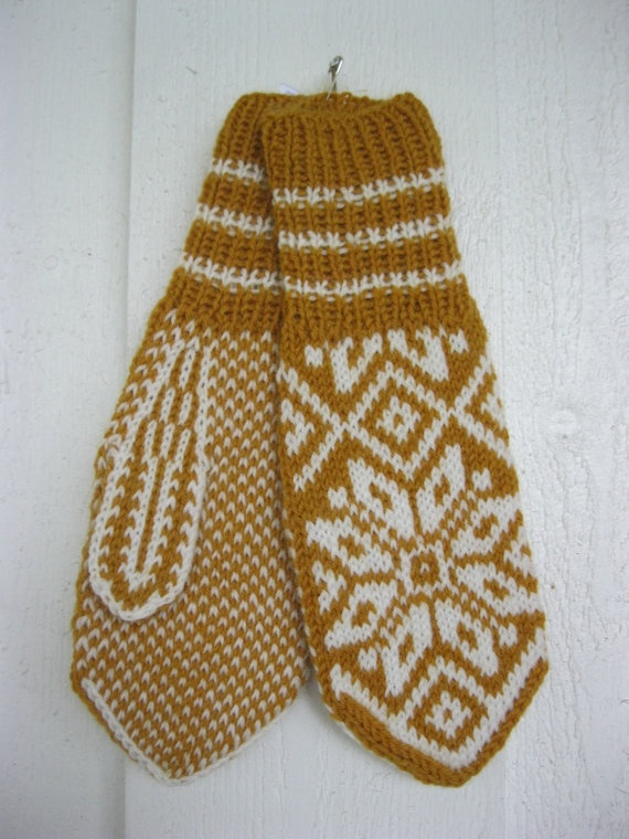 norwegian handknitted mittens in mustard and white