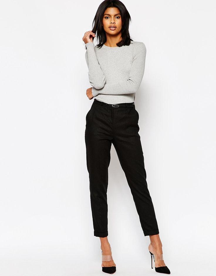 Image 1 ofASOS Linen Cigarette Trousers with Belt