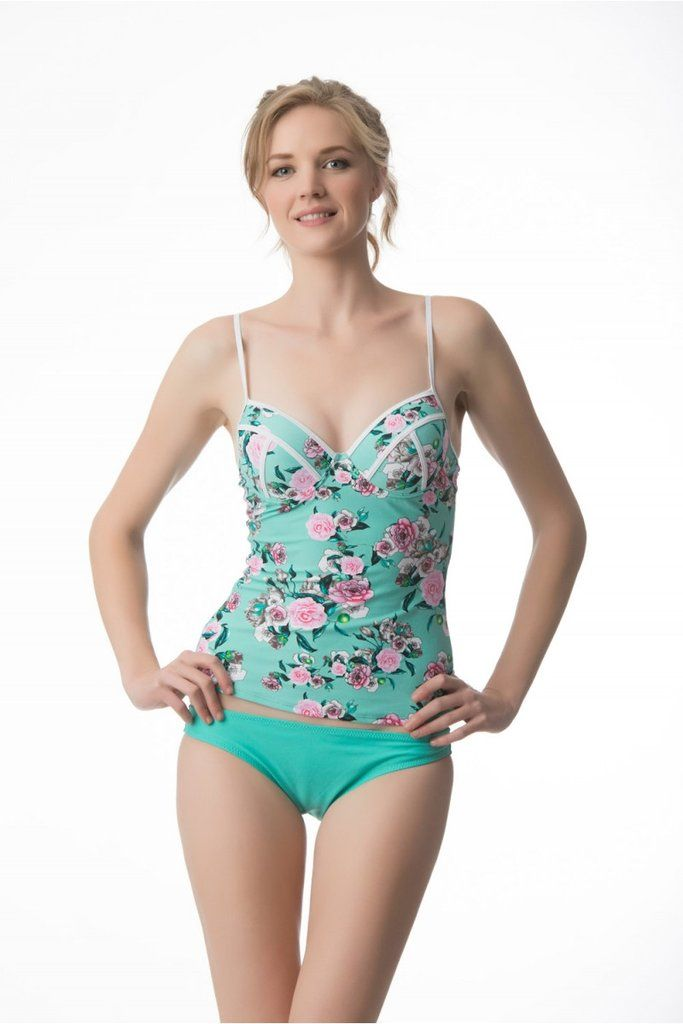 front view of our mint tankini