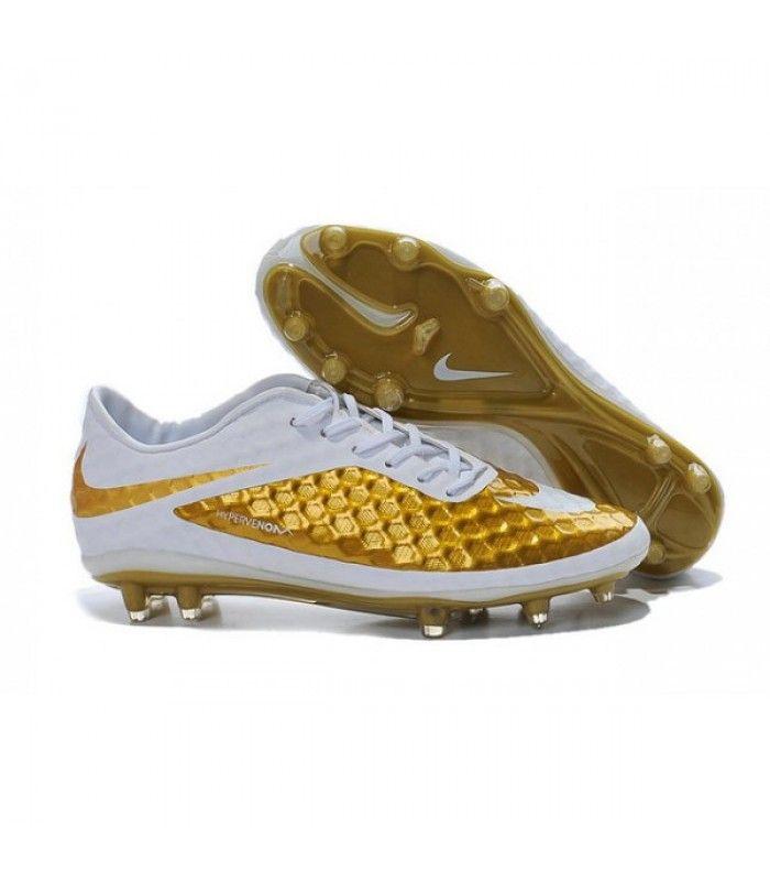 Acheter Nouveau Hommes Chaussures Nike Hypervenom Phantom FG Premium Or Blanc pas cher en ligne 91,00€ sur http://cramponsdefootdiscount.com