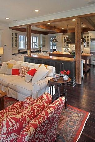 Craftsman Living Room with Crown molding, Restoration hardware vintage toledo bar chair - polished chrome, Hardwood floors