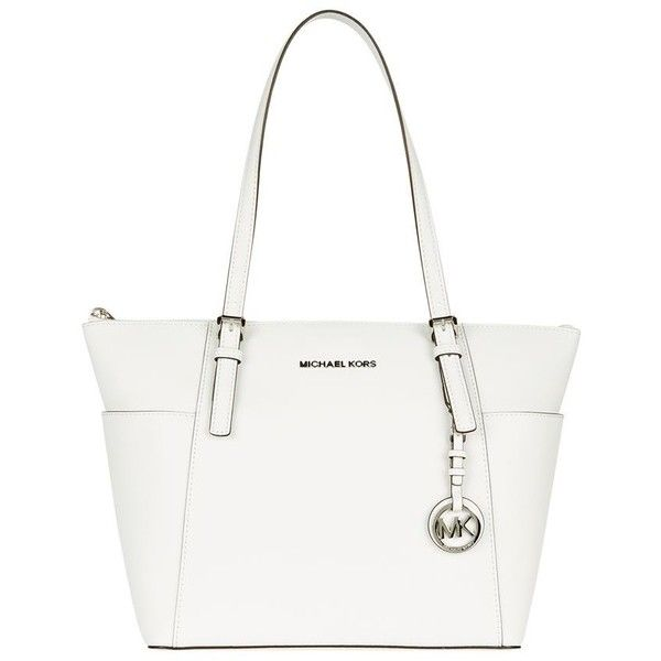 MICHAEL Michael Kors Medium Jet Set Item Top-Zip Tote ($315) ❤ liked on Polyvore featuring bags, handbags, tote bags, bags and purses, purses, hand bags, saffiano leather tote, tote purse, white purse and white tote bag
