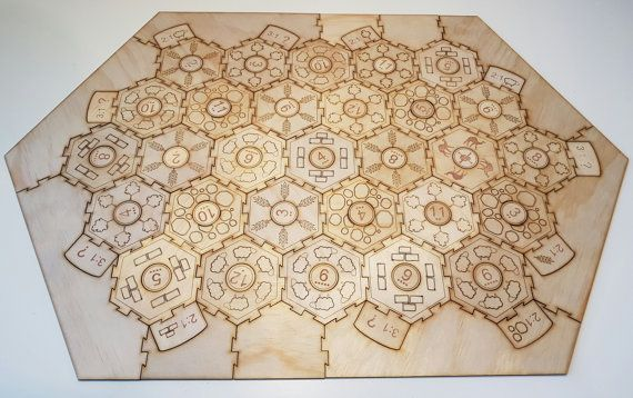 Interlocking engraved settlers of catan board 5-6 player