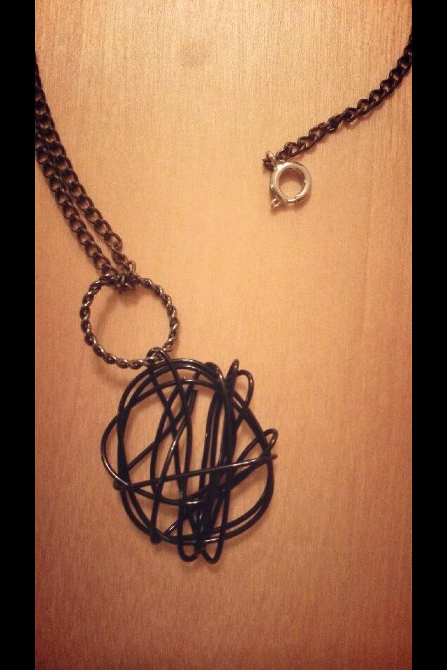 In the storm You are there  Black wire art pendant and brass chain.  $25 at www.sozojewellerydesigns.com