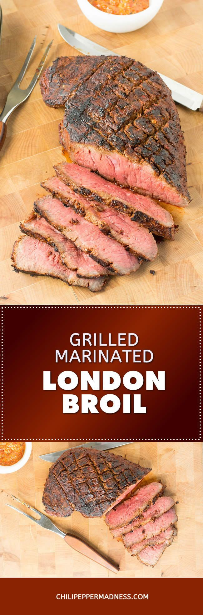 Grilled Marinated London Broil – Madness Style - A recipe for tender London Broil, marinated in a homemade spicy steak marinade with chili paste, then grilled to perfection. Slice against the grain and serve it with chimichurri. Absolutely mouthwatering on the grill.