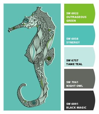 Turquoise Seahorse Paint Colors By Sherwin Williams Sw