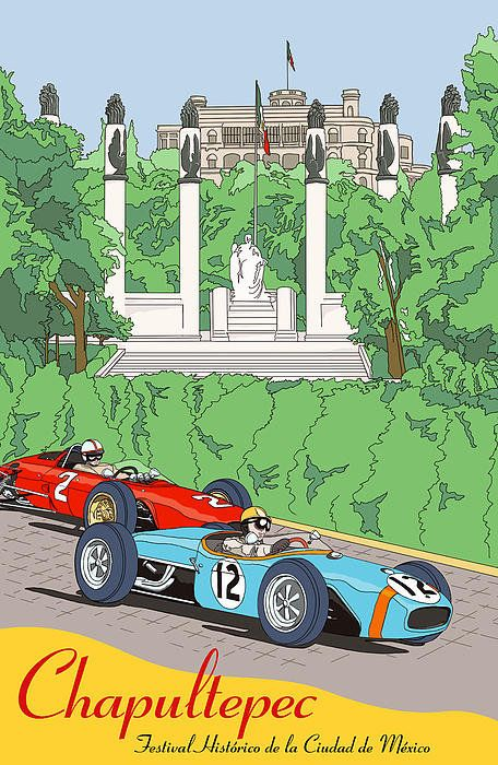 Chapultepec Mexico Grand Prix Poster By Nomad Art And  Design