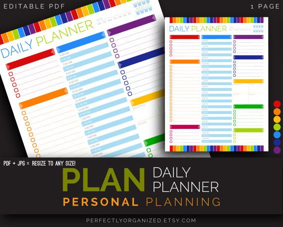 Diy Rainbow Calendar : Daily planner calendar schedule to do list desk